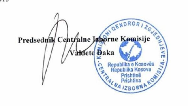 """Одлука о расписивању локалних избора у """"Републици Косово"""""""