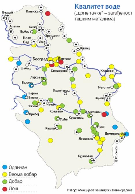 karta voda srbije Срби на окуп! Воде за пиће у Србији углавном загађене тешким  karta voda srbije