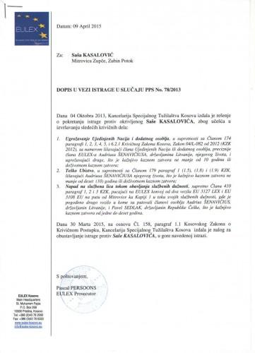 Eulex istraga Saša Kasalović