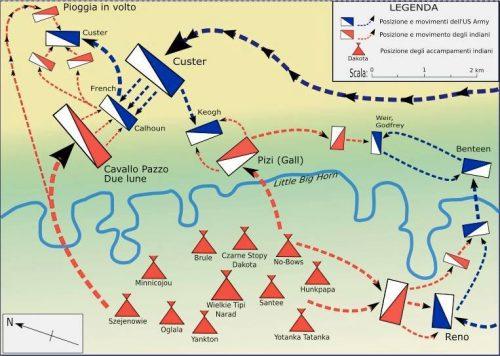 Литл Биг Хорн мапа битке