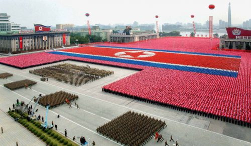 """--- EDITORS NOTE -- RESTRICTED TO EDITORIAL USE - MANDATORY CREDIT  """" AFP PHOTO / HO / KCNA via KNS """"  -  NO MARKETING NO ADVERTISING CAMPAIGNS   -   DISTRIBUTED AS A SERVICE TO CLIENTS  This picture released by North Korea's official Korean Central News Agency on September 10, 2011 via the Tokyo-based Korean News Service (KNS) shows a military parade to celebrate the 63rd founding anniversary of the Democratic People's Republic of Korea in Pyongyang on September 9, 2011.  North Korean leader Kim Jong-Il and his son on September 9 reviewed a parade of military hardware and thousands of goose-stepping troops, in what analysts saw as a bid to bolster loyalty to the regime.   AFP PHOTO / HO / KCNA via KNS"""