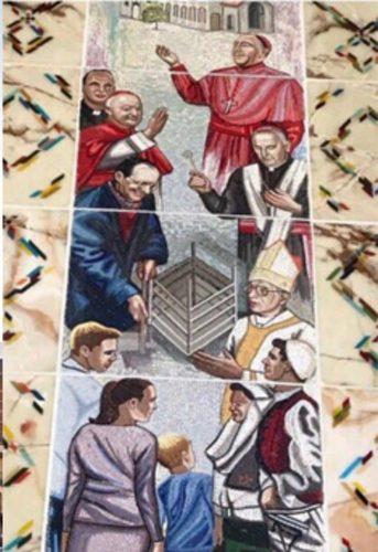 Мурал и лик Ругове у цркви Мајке Терезе у Приштини