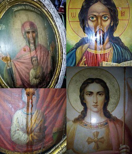 Мироточи 9 икона и 7 крстова у руској сеоској цркви